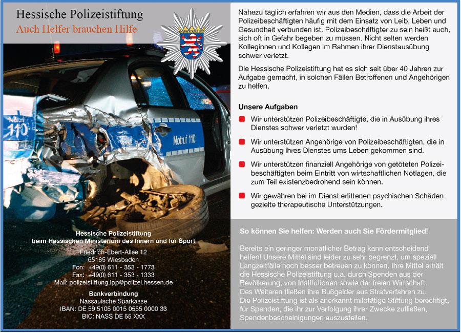 Polizei Hessen Hessische Polizeistiftung