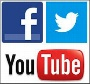 Logos Facebook, Twitter und YouTube